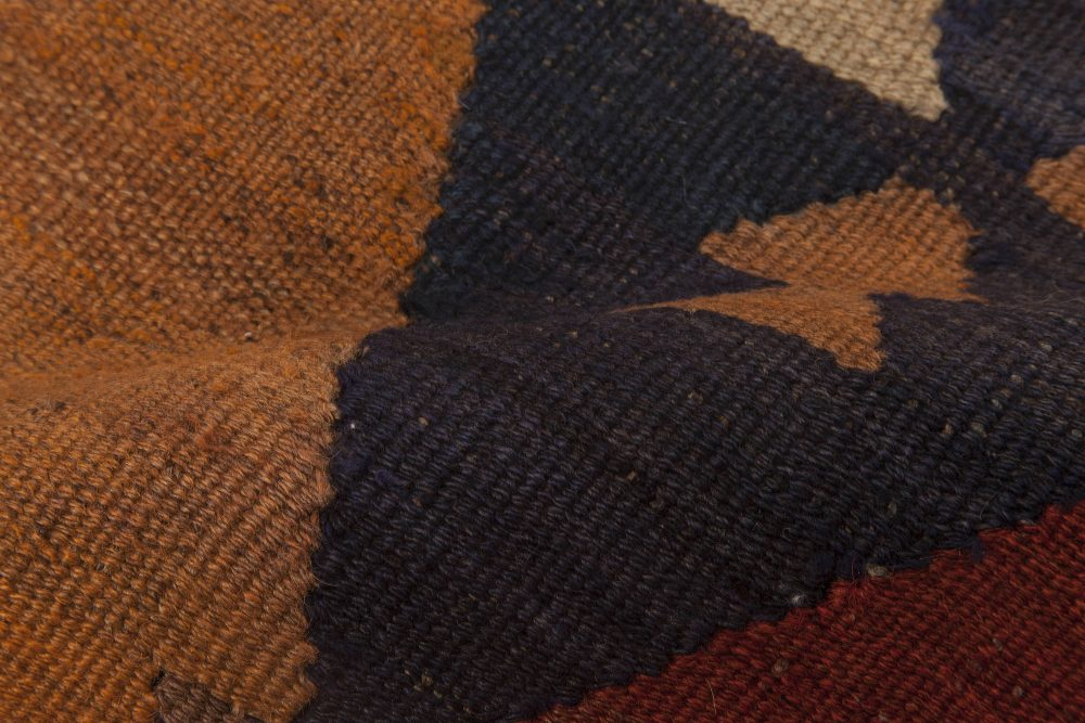 Vintage Etno Brown, Red and Yellow Handwoven Wool Turkish Kilim Rug BB6516