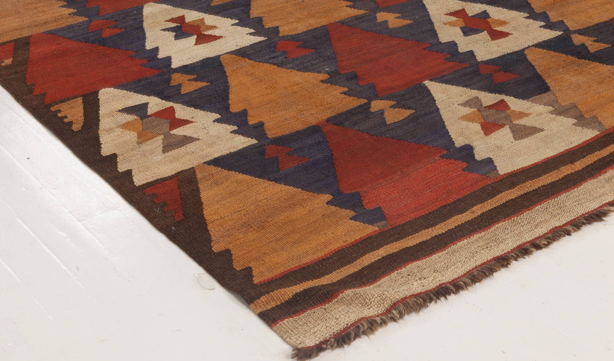 Vintage Etno Brown, Red and Yellow Handwoven Wool Kilim Rug BB6516