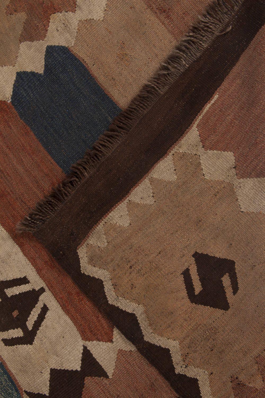 Warm Earth Colors Handwoven Wool Etno Turkish Kilim Rug BB6514