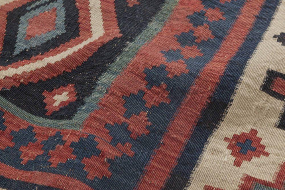Turkish Kilim Navy Blue, Ivory, Carmine and Burgundy Wool Rug BB6404