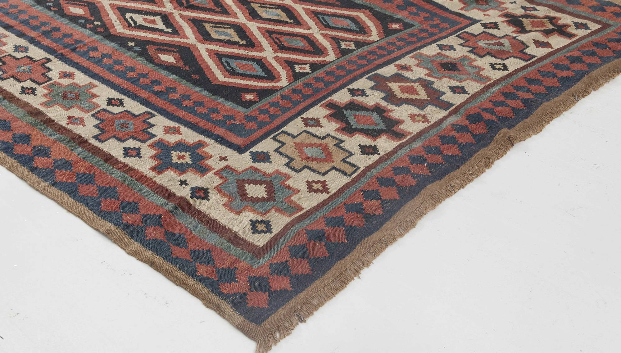 Picture of: Turkish Kilim Navy Blue Ivory Carmine And Burgundy Wool Rug Bb6404 By Dlb