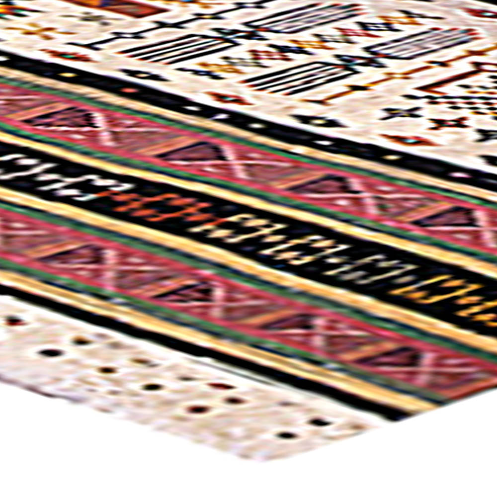 Hand Knotted Wool Kilim Rug in Pink, Gold, Green, Black and Ivory BB4860