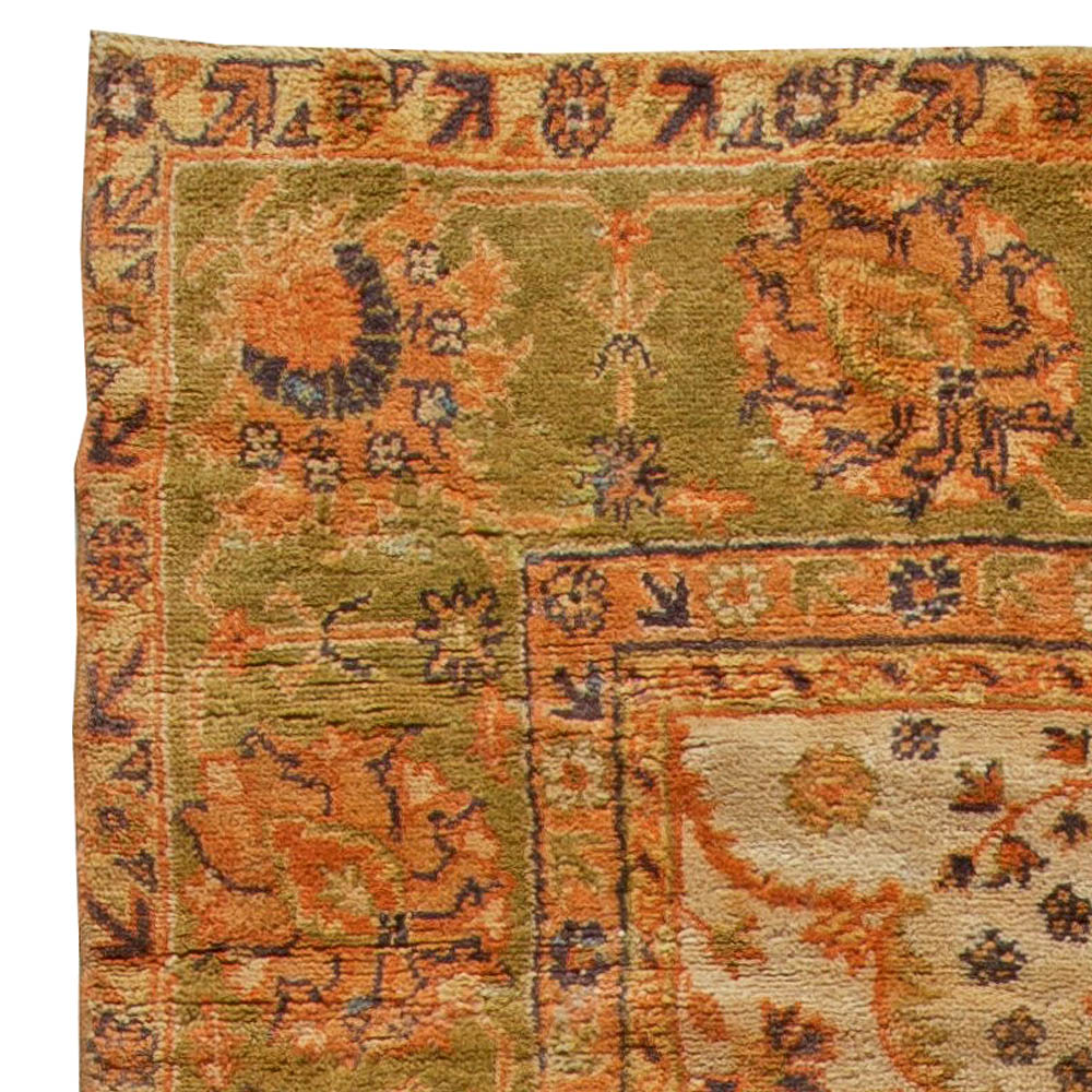 1900s Turkish Oushak Soft Camel with Floral Motifs Handwoven Wool Rug BB5666