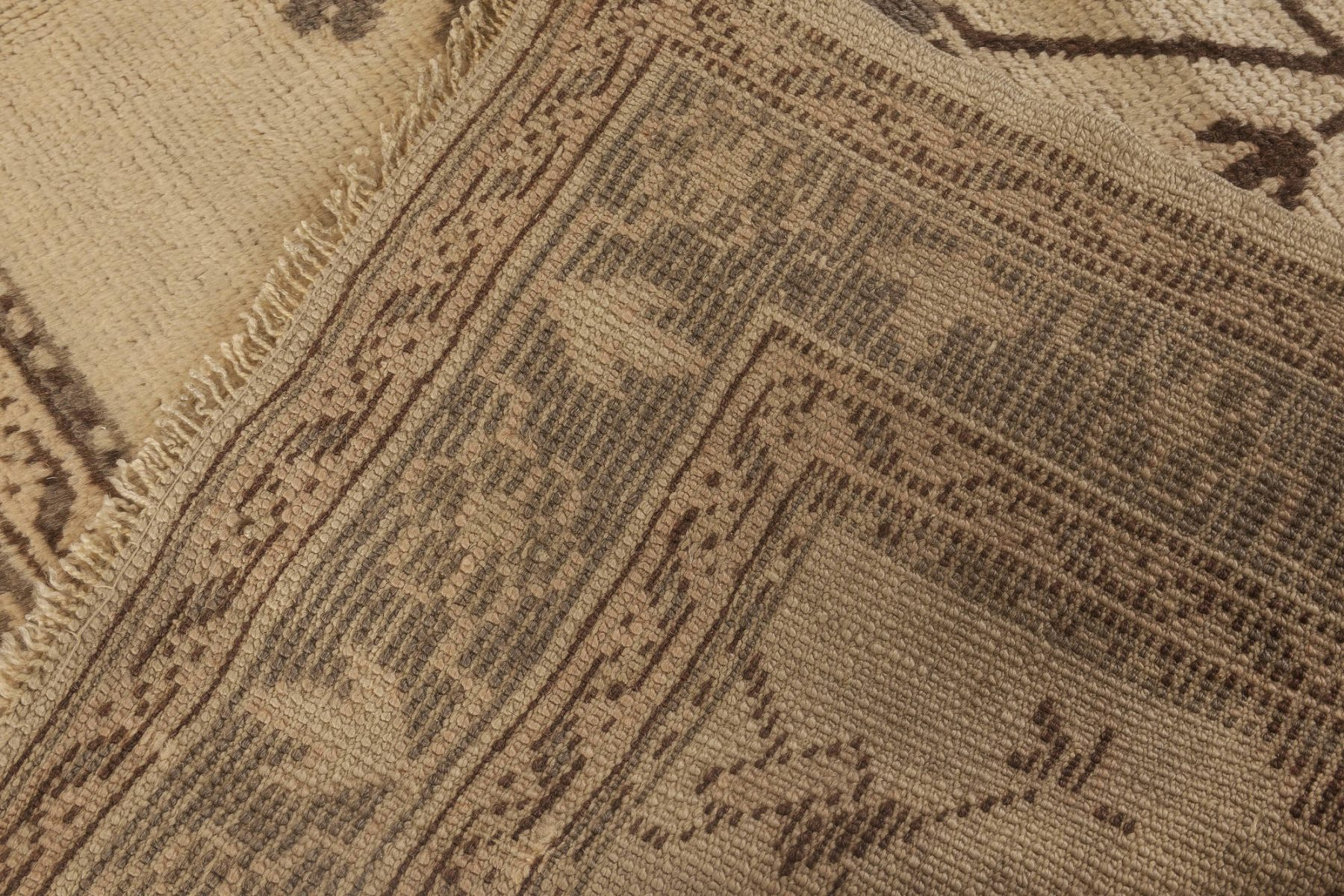 Antique Turkish Oushak Camel and Light Brown Handwoven Wool Rug BB2688
