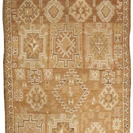 Antique Turkish Oushak Beige & Brown Wool Rug BB4999