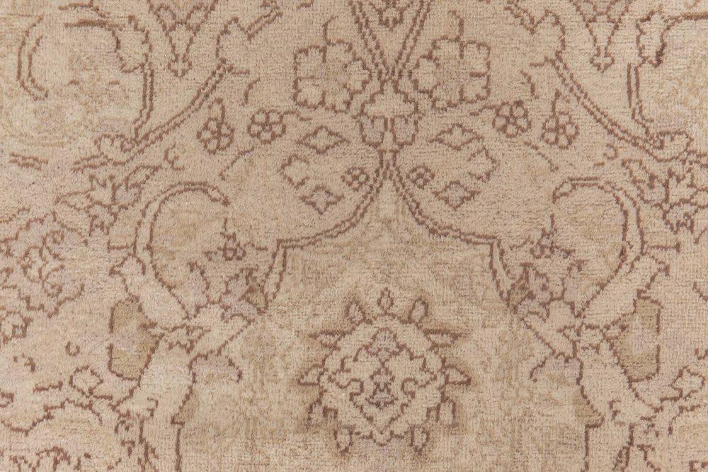 Antique Turkish Sivas Botanic Cream and Brown Handwoven Wool Carpet BB2288