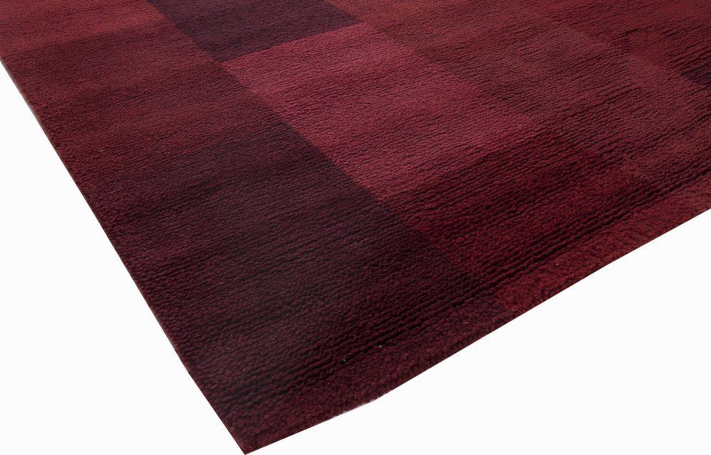 Vintage Art Deco Raspberry Red Handwoven Wool Rug BB6343