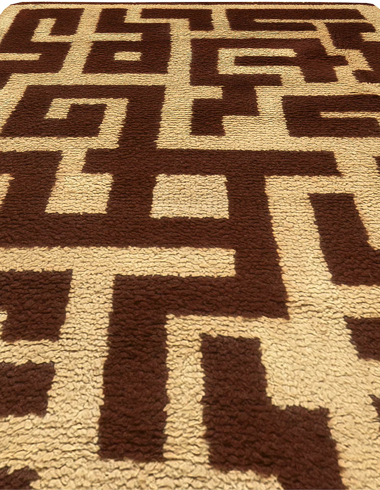 French Art Deco Decorative Brown and Beige Hand Knotted Wool Rug BB6171