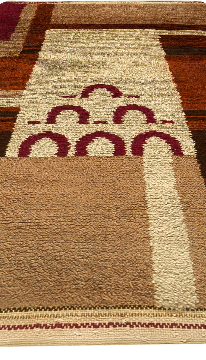 Vintage French Art Deco Brown, Purple and Beige Hand Knotted Wool Rug BB6172