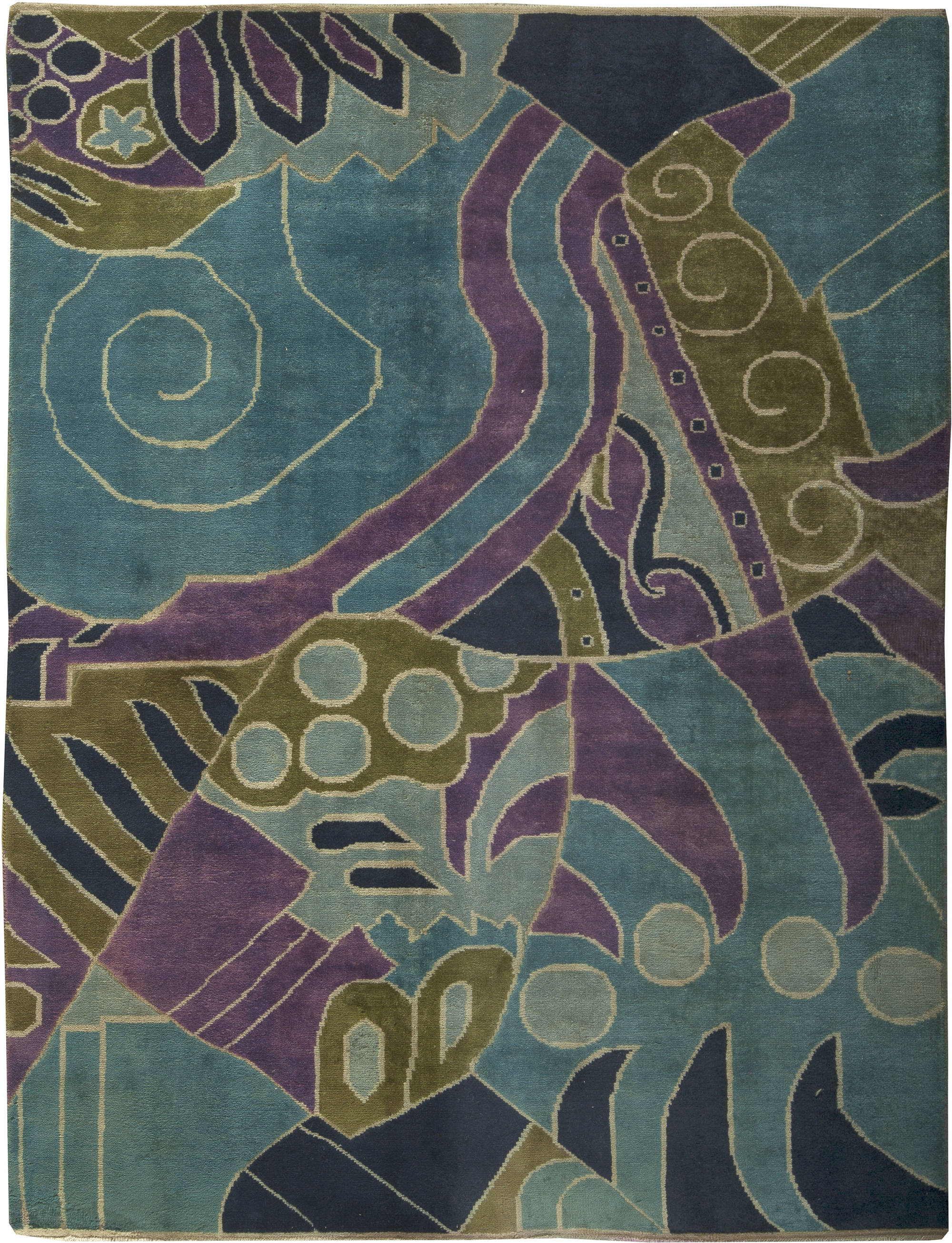 Vintage French Art Deco Rug Bb6143 By Dlb