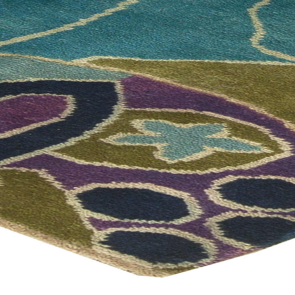 Vintage French Art Deco Purple, Olive and Bright Blue Rug BB6143