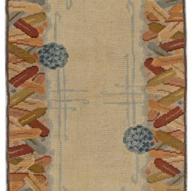 Midcentury Yellow and Beige Handwoven Wool Art Deco Rug BB6265