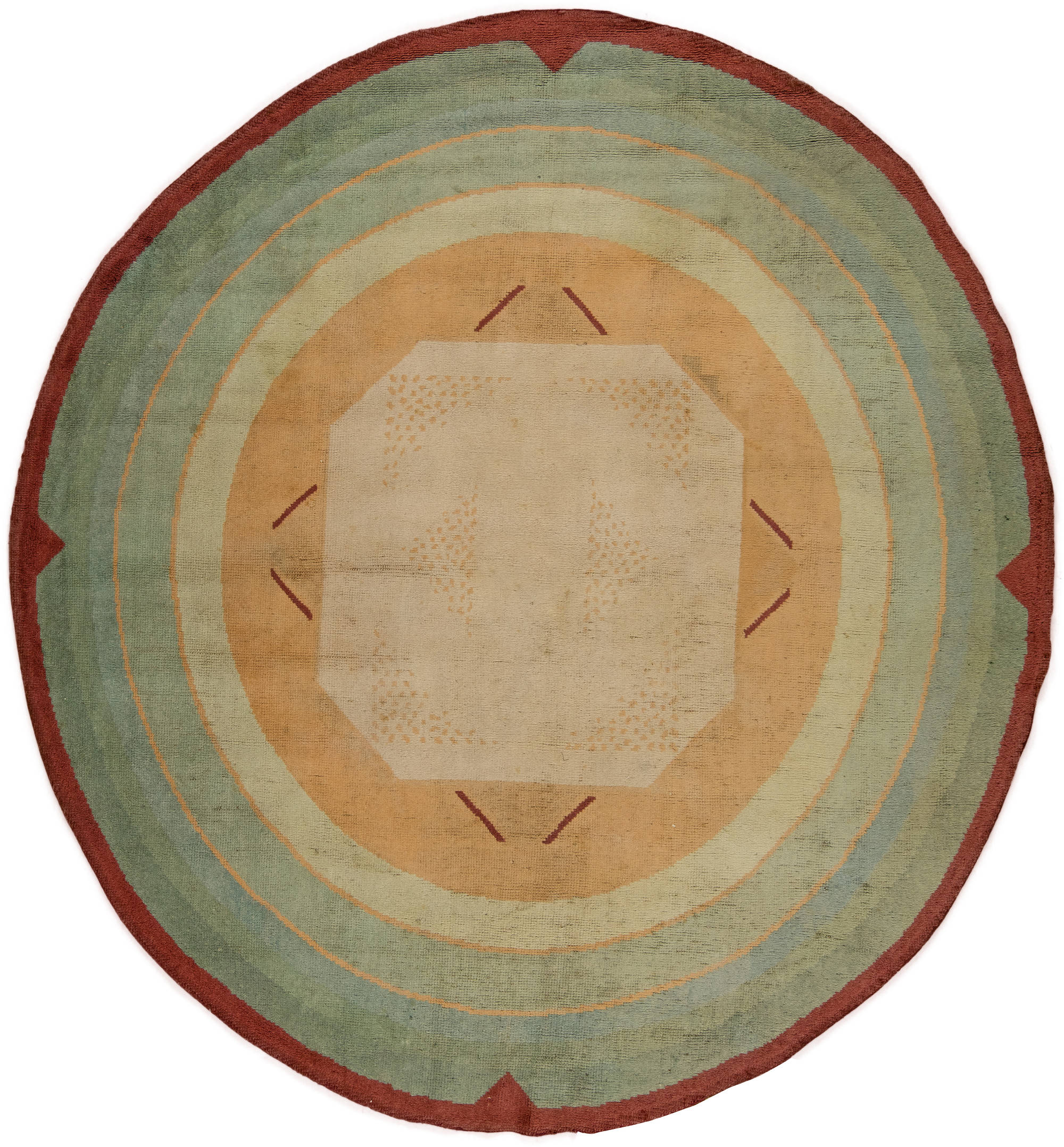 Vintage French  Art Deco Circular Rug BB6272