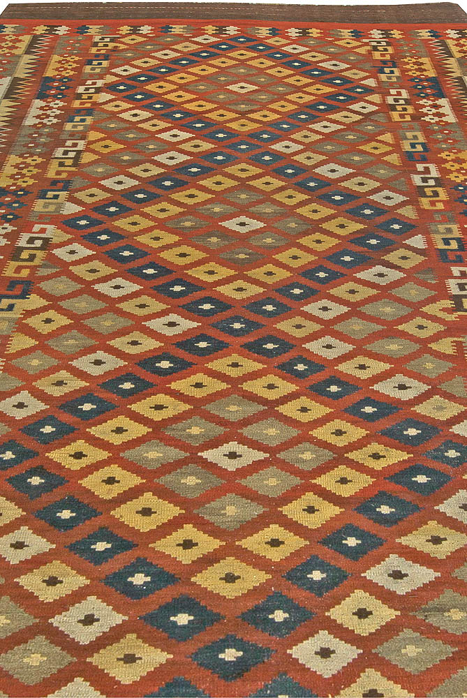 Vintage Yellow, Gray, Blue and Red Hand Knotted Wool Kilim Rug BB5943