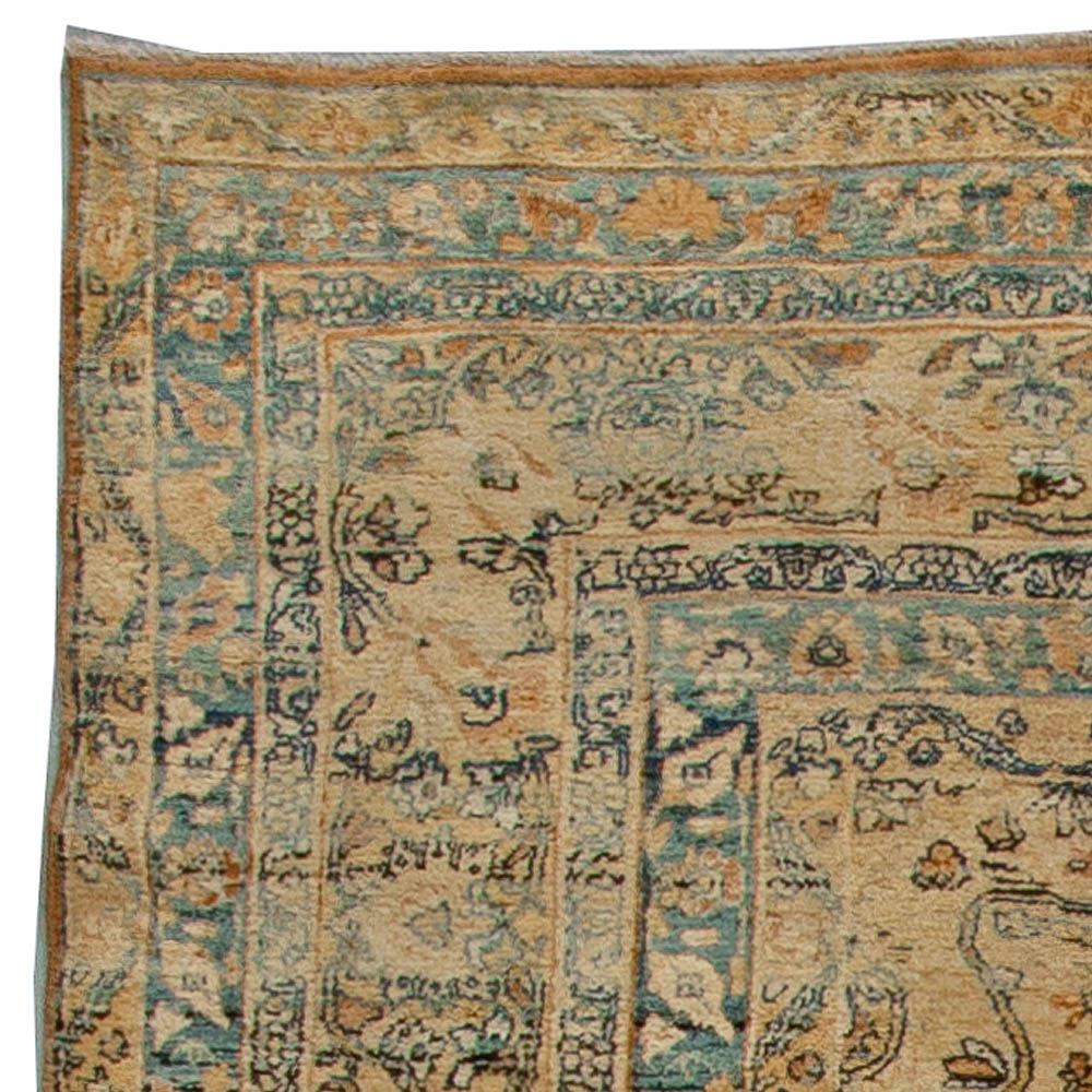 Antique Persian Kirman Camel, Beige and Blue Handwoven Wool Rug BB5551