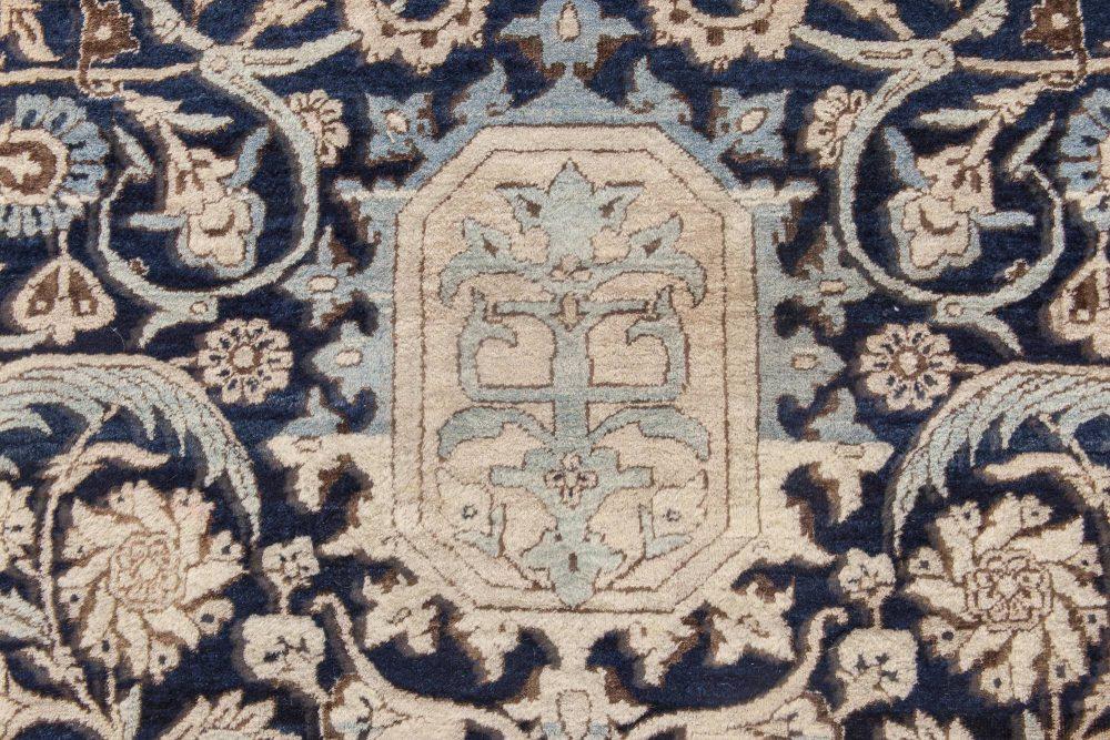 Antique Persian Kirman Navy Blue and Beige Handwoven Wool Rug BB6369
