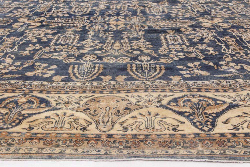 Antique Persian Kirman Navy Blue & Camel Wool Rug BB6479