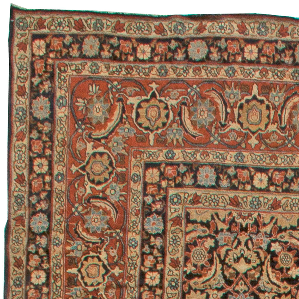 Antique Kirman Rug in Black, Red and Yellow BB5594