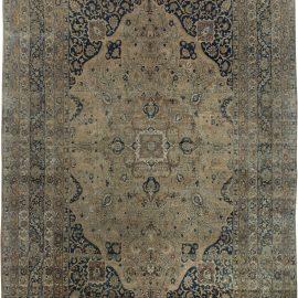 Persian Kirman Beige, Brown and Black Handwoven Wool Rug BB6370