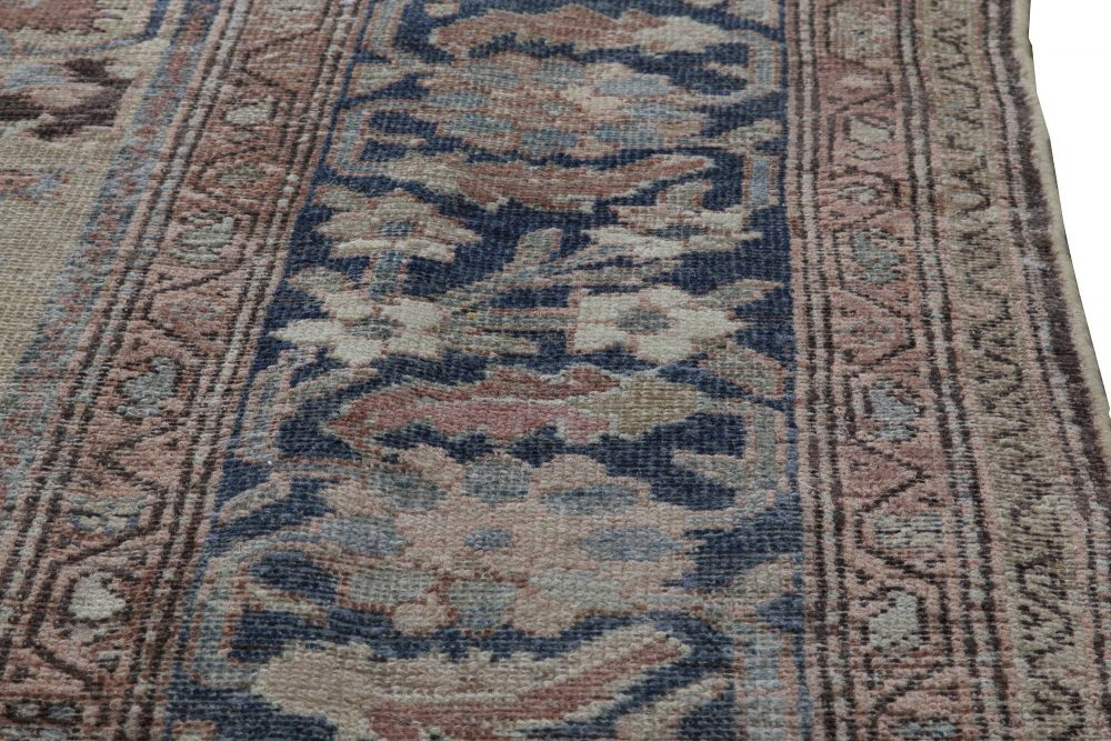 Neutral Beige Soft Blues and Pinks Antique Persian Malayer Rug BB5996