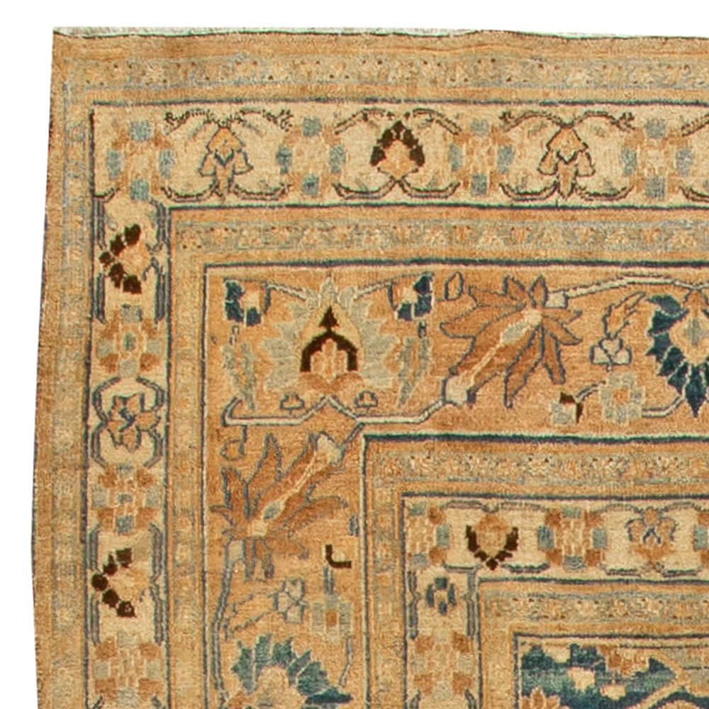 Antique Persian Meshad Botanic Golden Beige, Brown & Black Rug BB6137