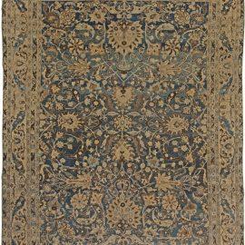 1900s Persian Meshad Indigo Blue, Beige and Brown Handmade Wool Rug BB5440