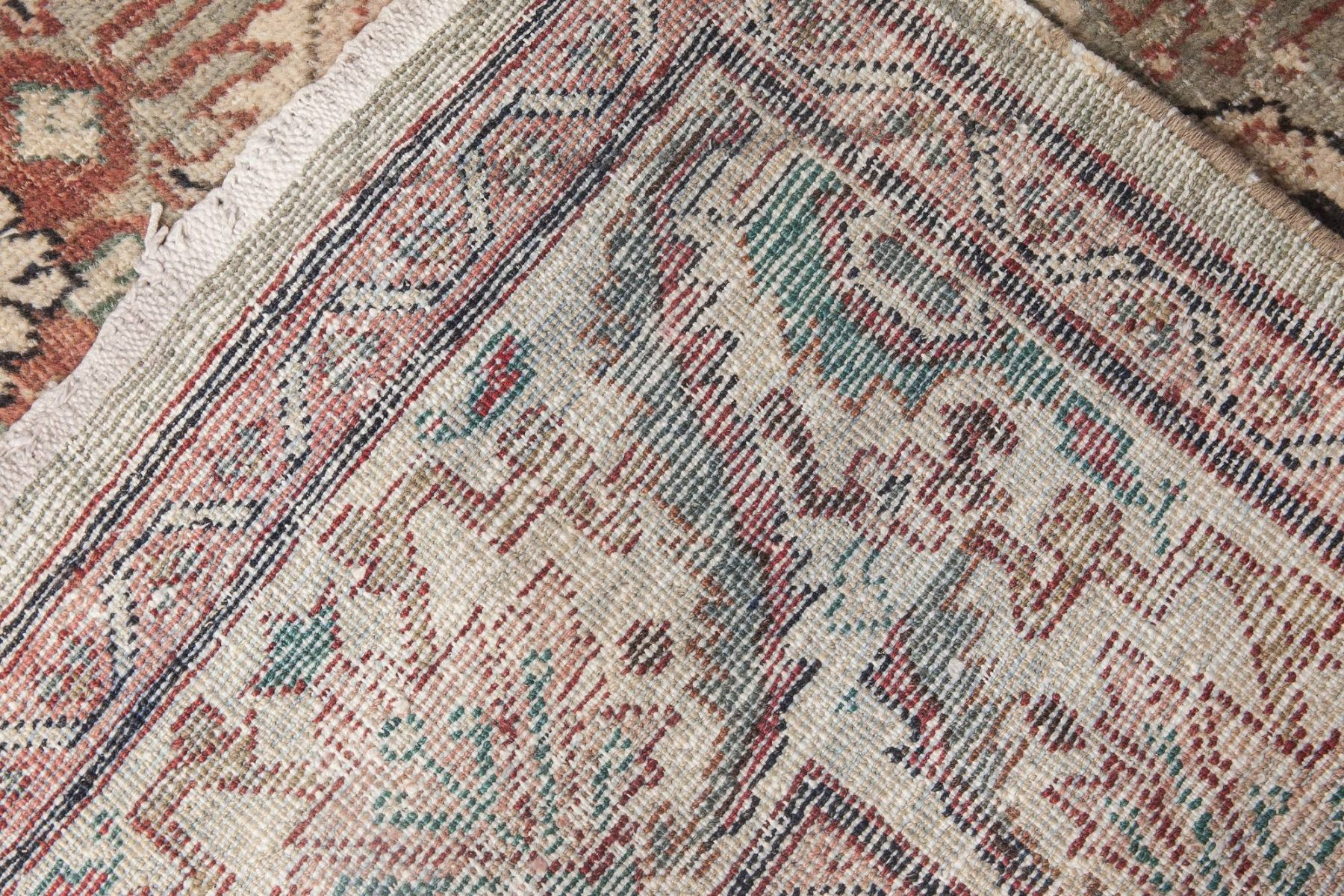 Antique Persian Sultanabad Mint Green, Red, Blue and Beige Rug BB6055