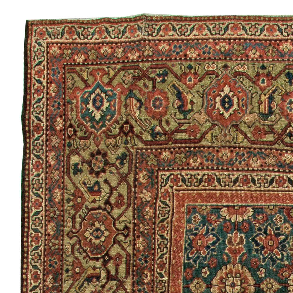 1920s Persian Sultanabad Red, Brown and Beige Handwoven Wool Rug BB5830