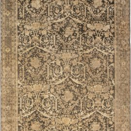 Antique Persian Sultanabad Camel and Brown Handwoven Wool Carpet BB6606