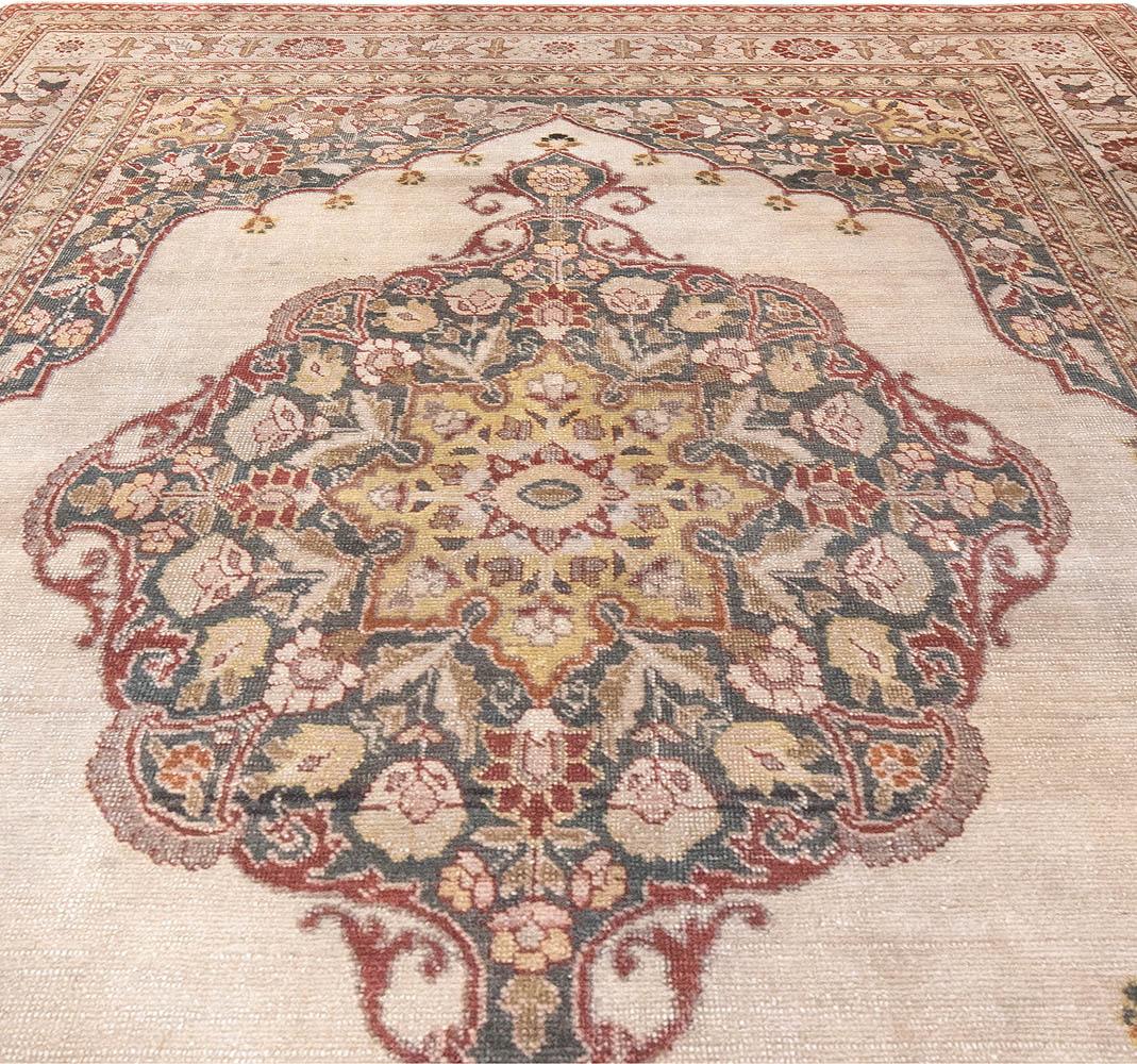Tabriz Yellow, Red, Dark Blue and Bone White Handwoven Wool Rug BB6177