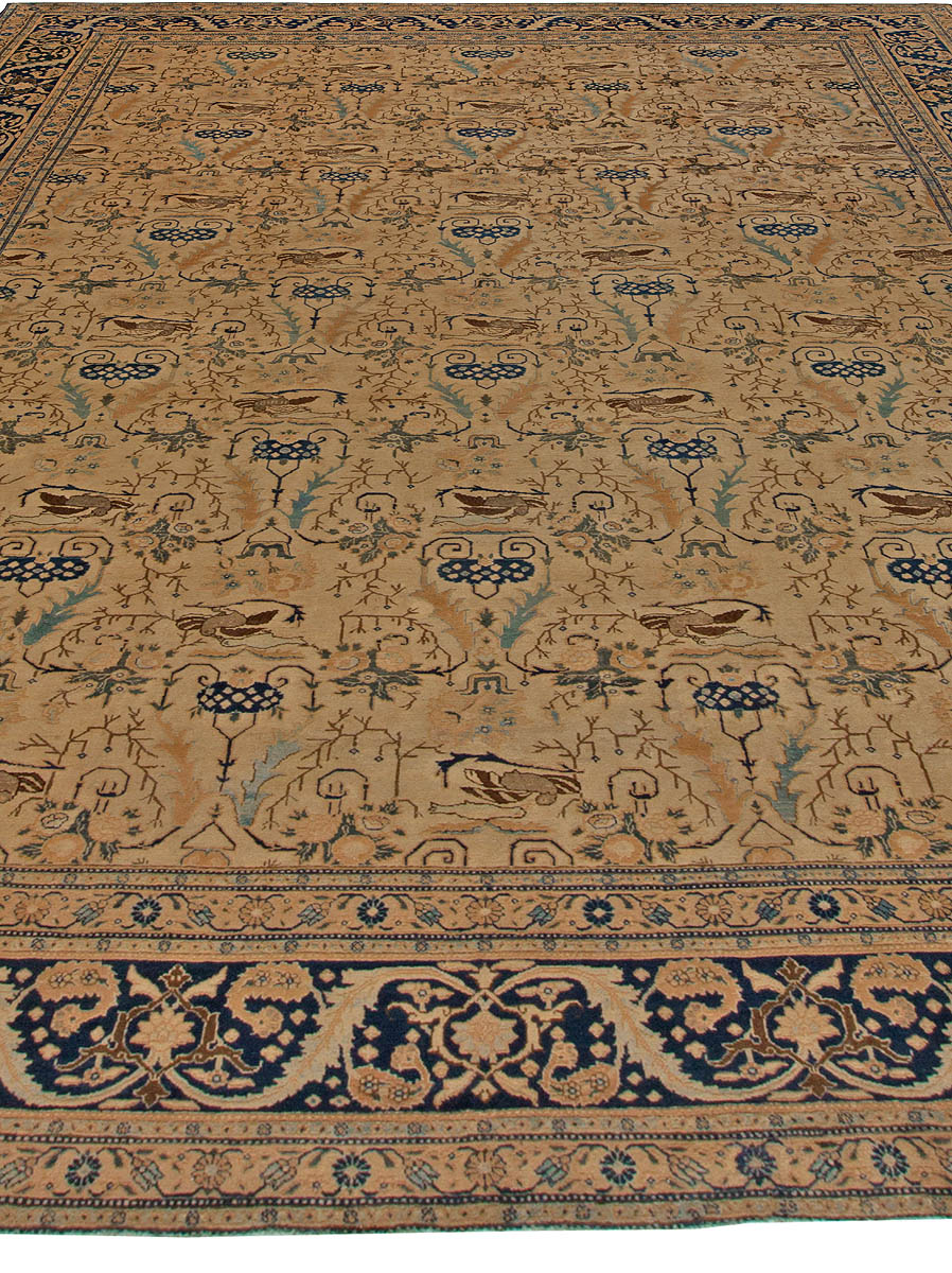 Antique Tabriz Rug in Blue and Brown BB5473