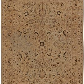 Antique Persian Tabriz Beige and Brown Handwoven Wool Rug BB5741