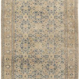 Antique Persian Tabriz Beige and Indigo Handmade Wool Rug BB6450