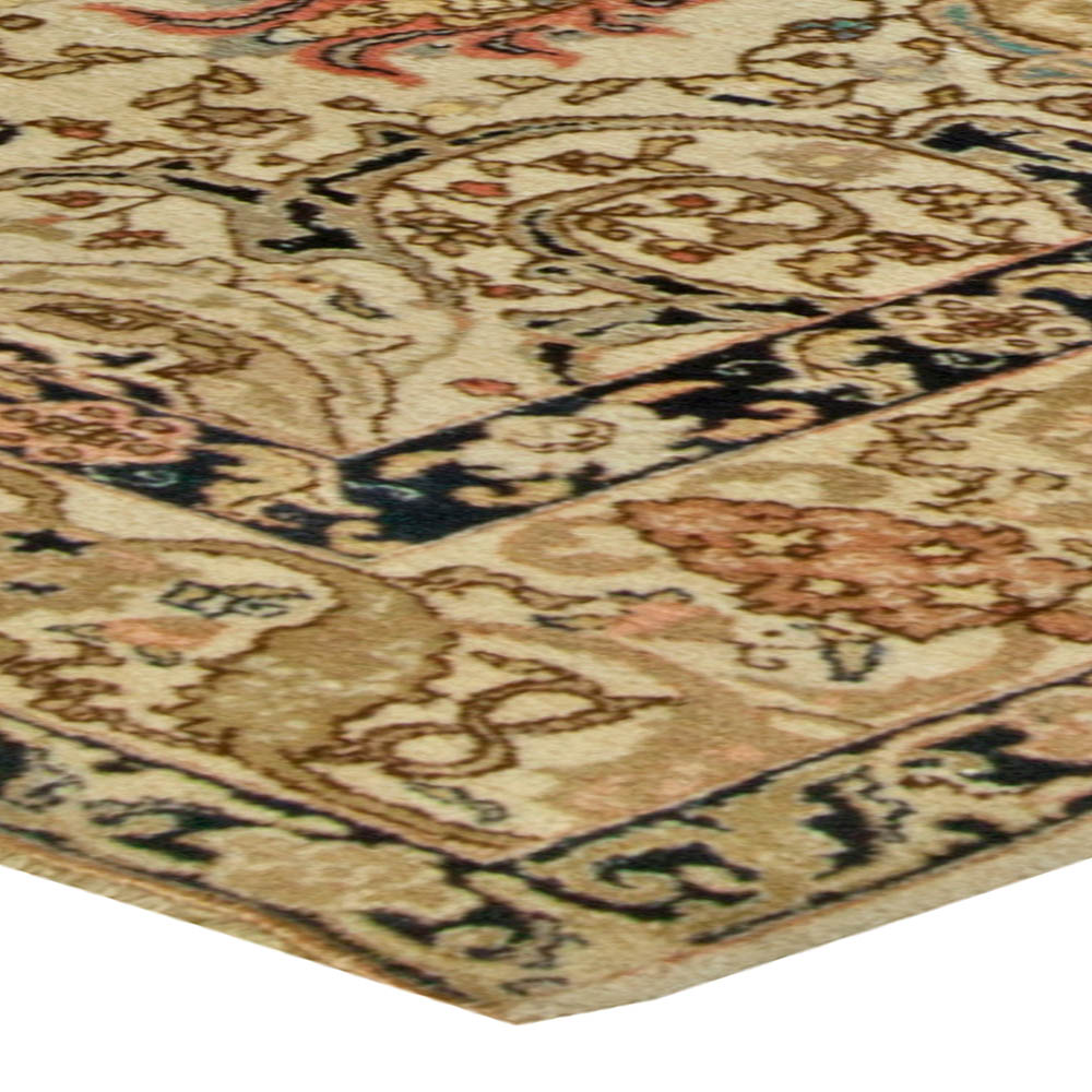 Antique Persian Tabriz Copper, Beige, Salmon and Inky Blue Rug BB6097