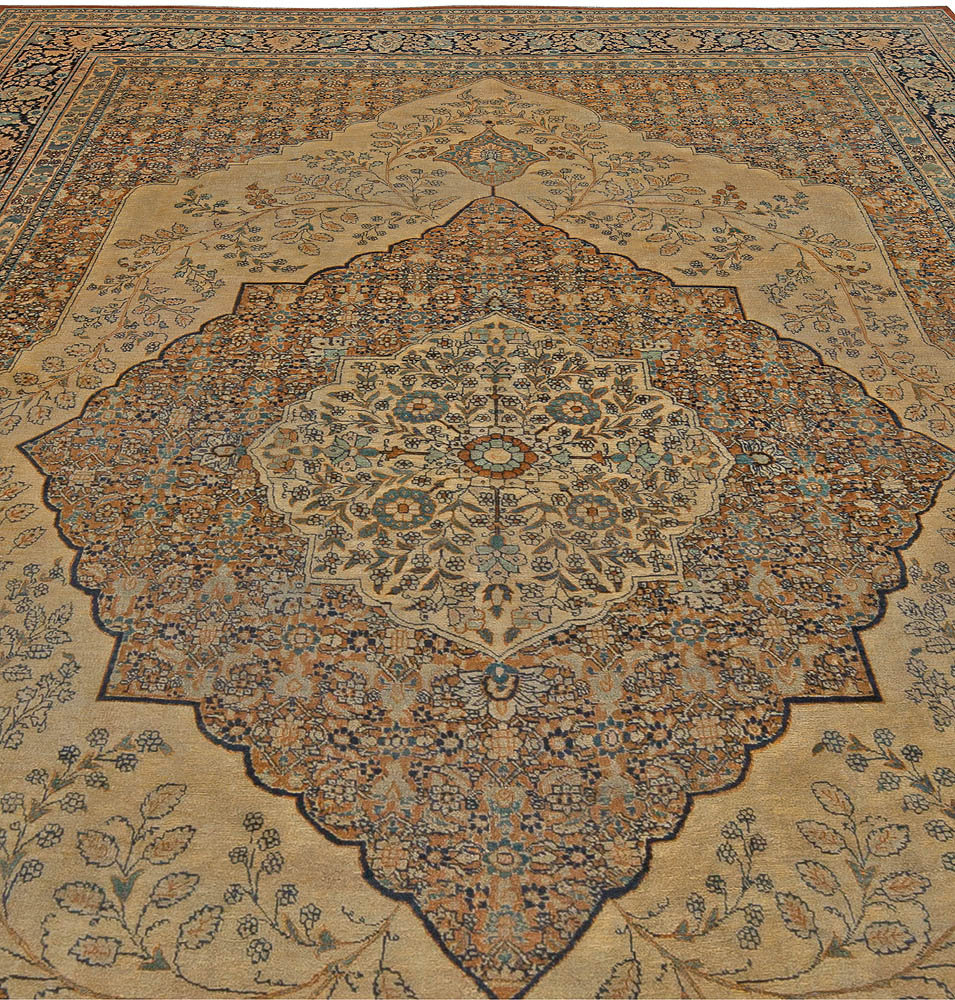 19th Century Persian Tabriz Green, Beige and Black Hand Knotted Rug BB5465