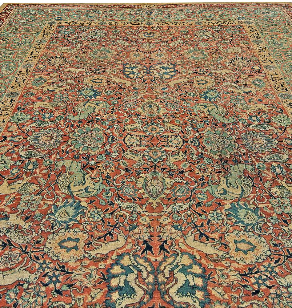 Antique Persian Tabriz Red, Orange, Blue and Green Carpet BB1036