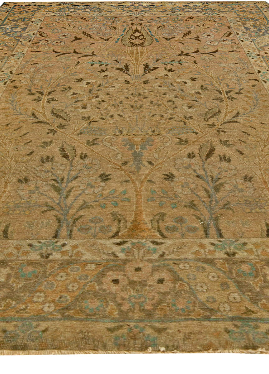 Antique Persian Tabriz Gold Beige and Azure Handwoven Wool Rug BB6108