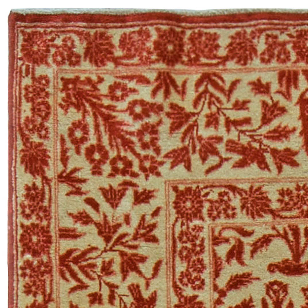 Antique Persian Tabriz Copper, Terracotta and Camel Handmade Wool Rug BB5612