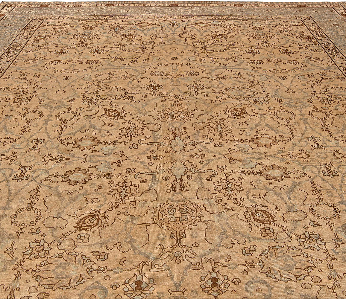 19th Century Persian Tabriz Brown and Beige Handwoven Wool Rug BB5410