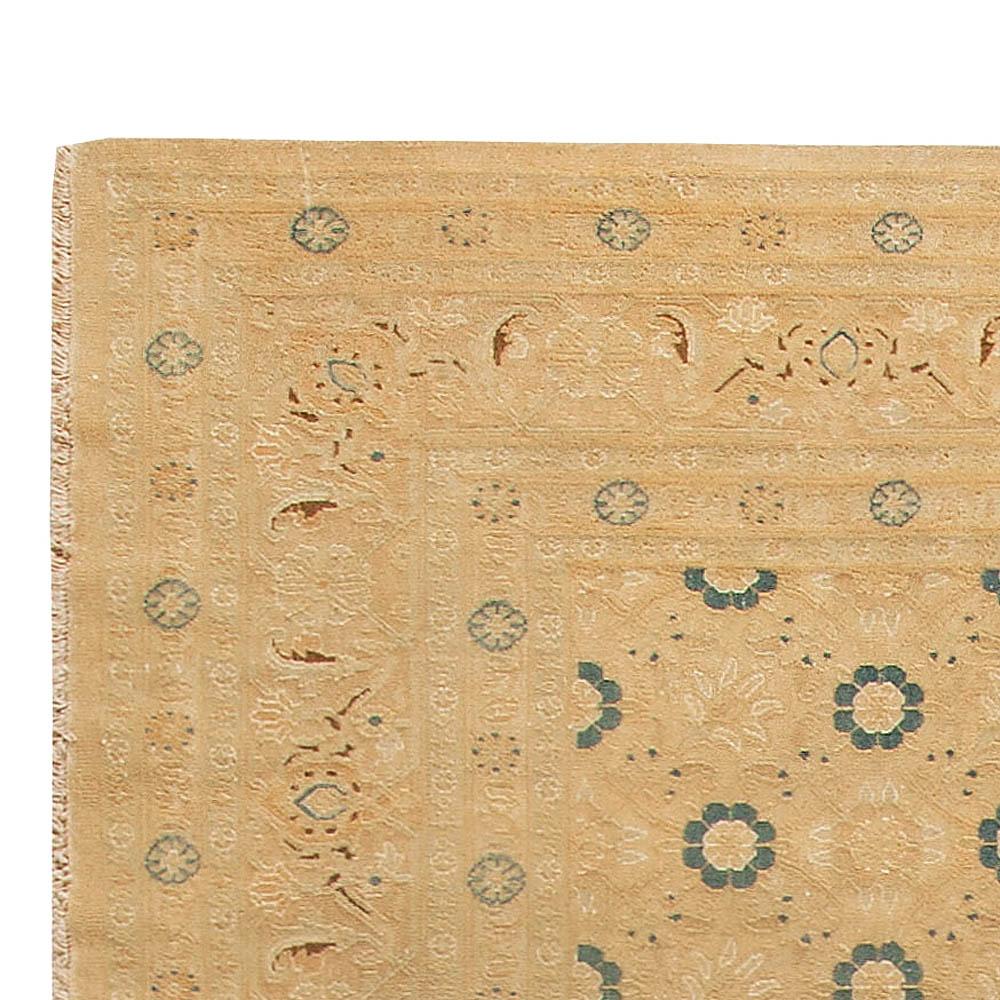Vintage Persian Tabriz Beige Handwoven Wool Rug BB5452