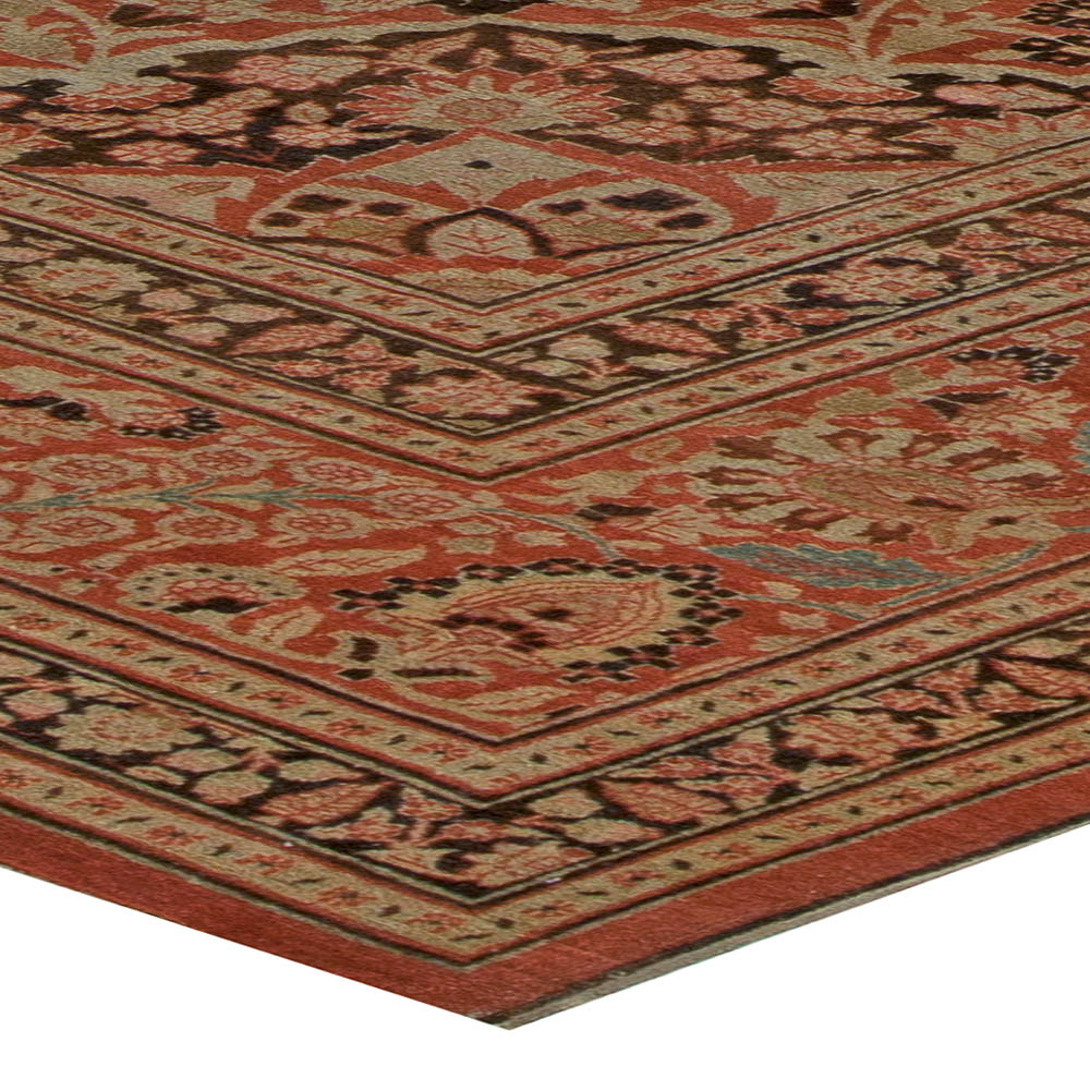 19th Century Persian Tabriz Beige, Brown and Terracotta Red Rug BB5471