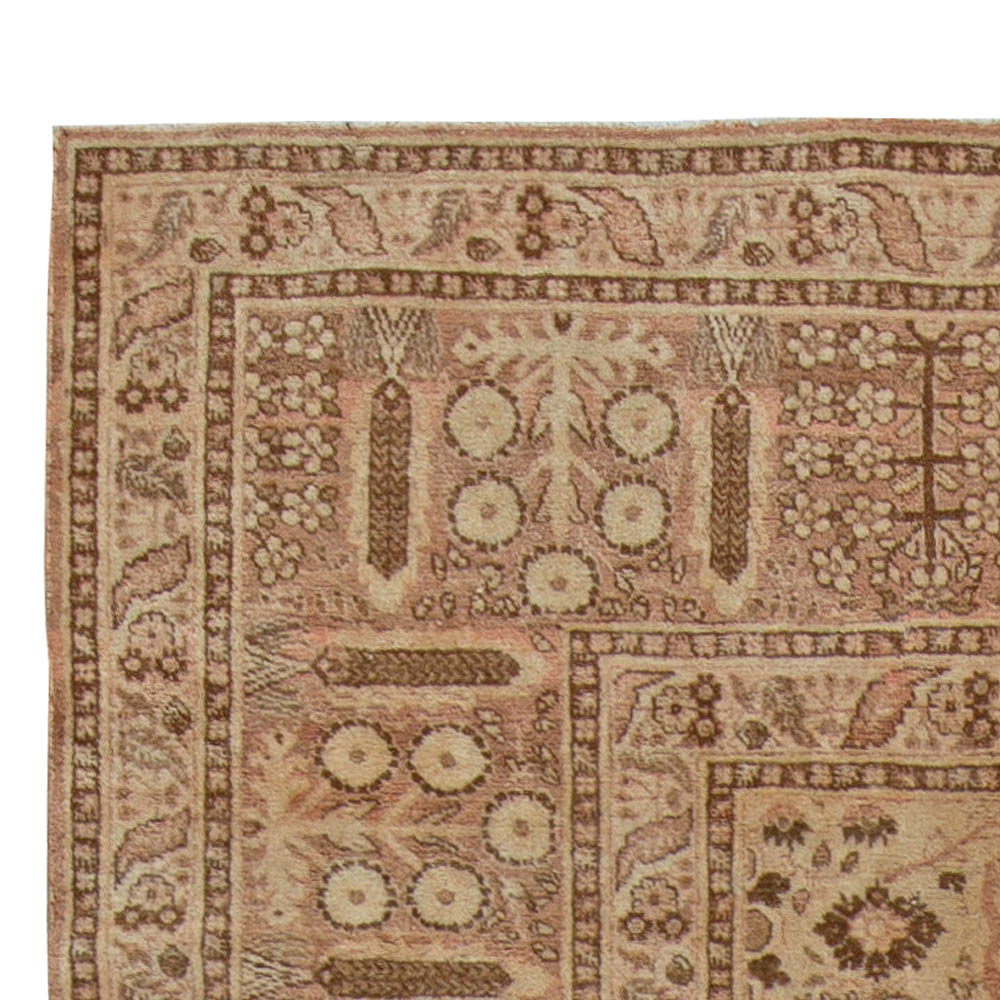 Antique Persian Tabriz Caramel and Salmon Handwoven Wool Rug BB5506
