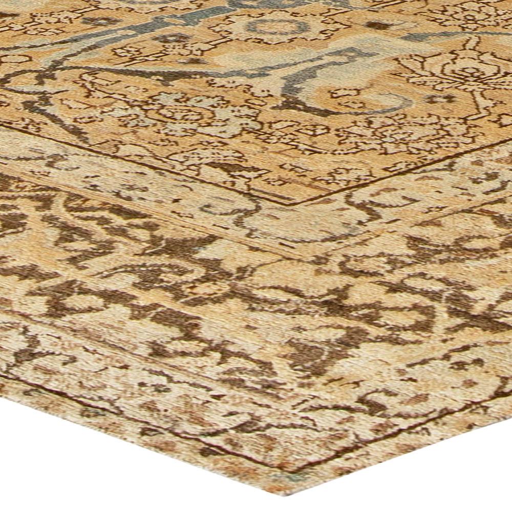 Antique Persian Tabriz Botanic Camel & Blue Handwoven Wool Rug BB5516