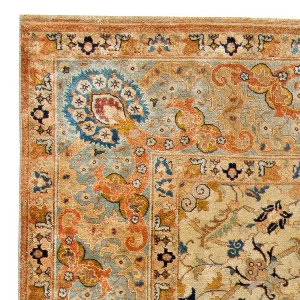 Antique Persian Tabriz Cream and Light Blue Handwoven Wool Rug BB5527