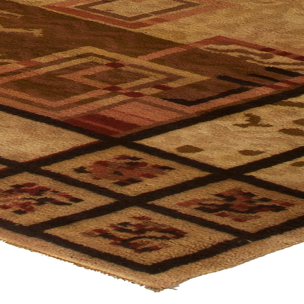 French Art Deco Midcentury Beige, Brown and Burgundy Handwoven Rug BB5427