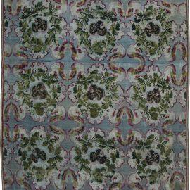 19th Century Bessarabian Floral Deep Fuchsia, Blue and Green Wool Rug BB6347