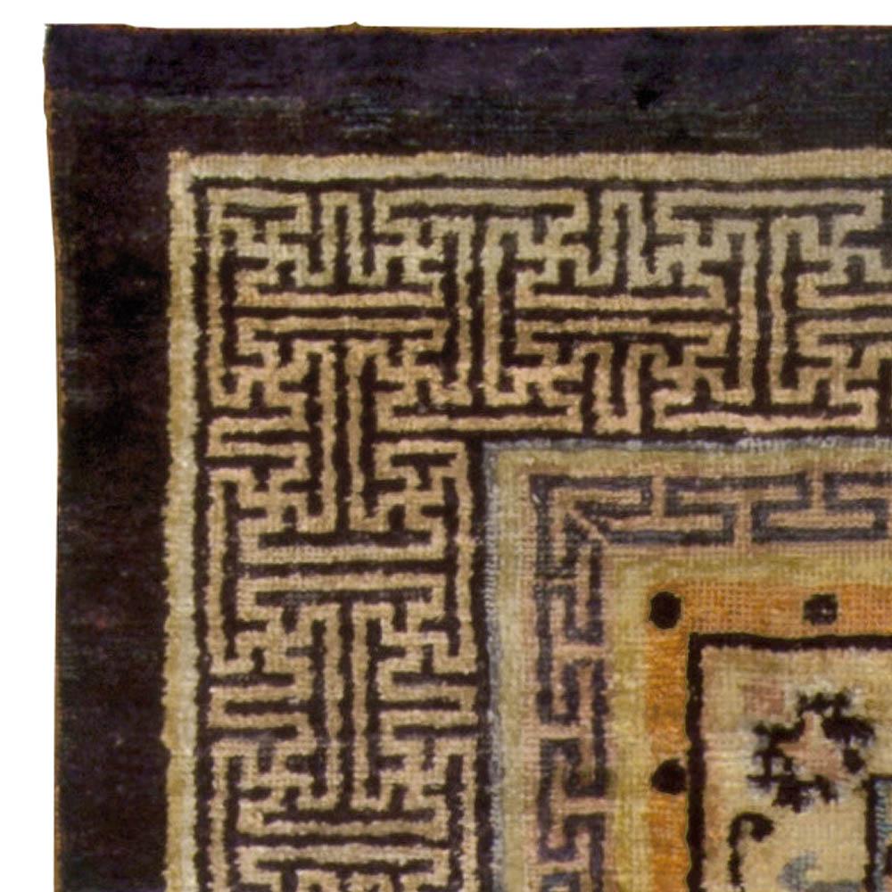 Vintage Chinese Oriental Design Silk Rug in Blue and Brown BB5240
