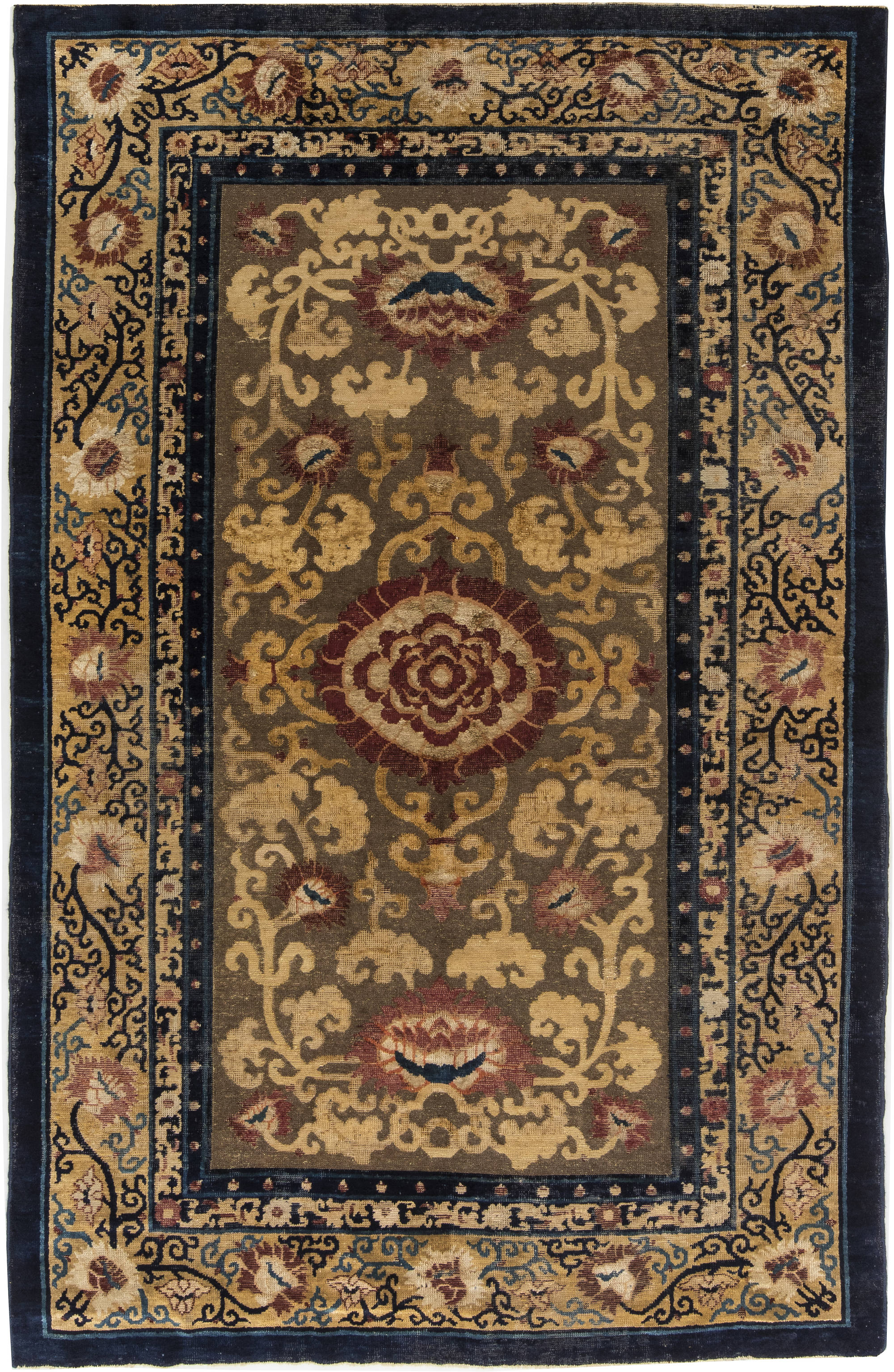 Floral Metal and Silk Thread Rug BB6282