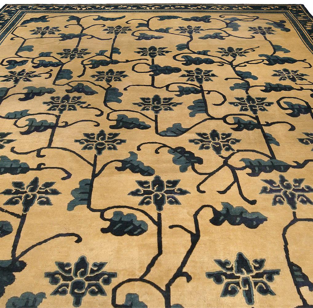 19th Century Chinese Beige & Dark Blue Handwoven Wool Carpet BB4245