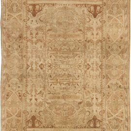 Antique Indian Amritsar Beige and Brown Handwoven Wool Rug BB1784